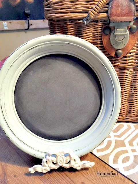 repurposed chalkboard round frame