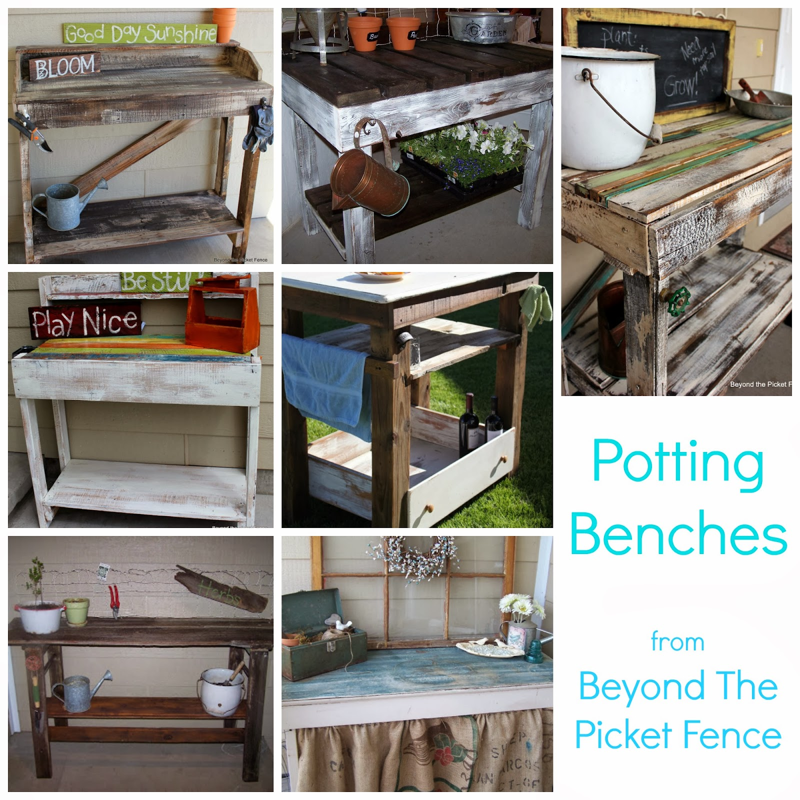 potting benches at beyond the picketfence made from salvaged materials and reclaimed wood http://bec4-beyondthepicketfence.blogspot.com/2014/02/potting-bench-fever.html