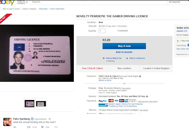 pewdiepie driving license ebay