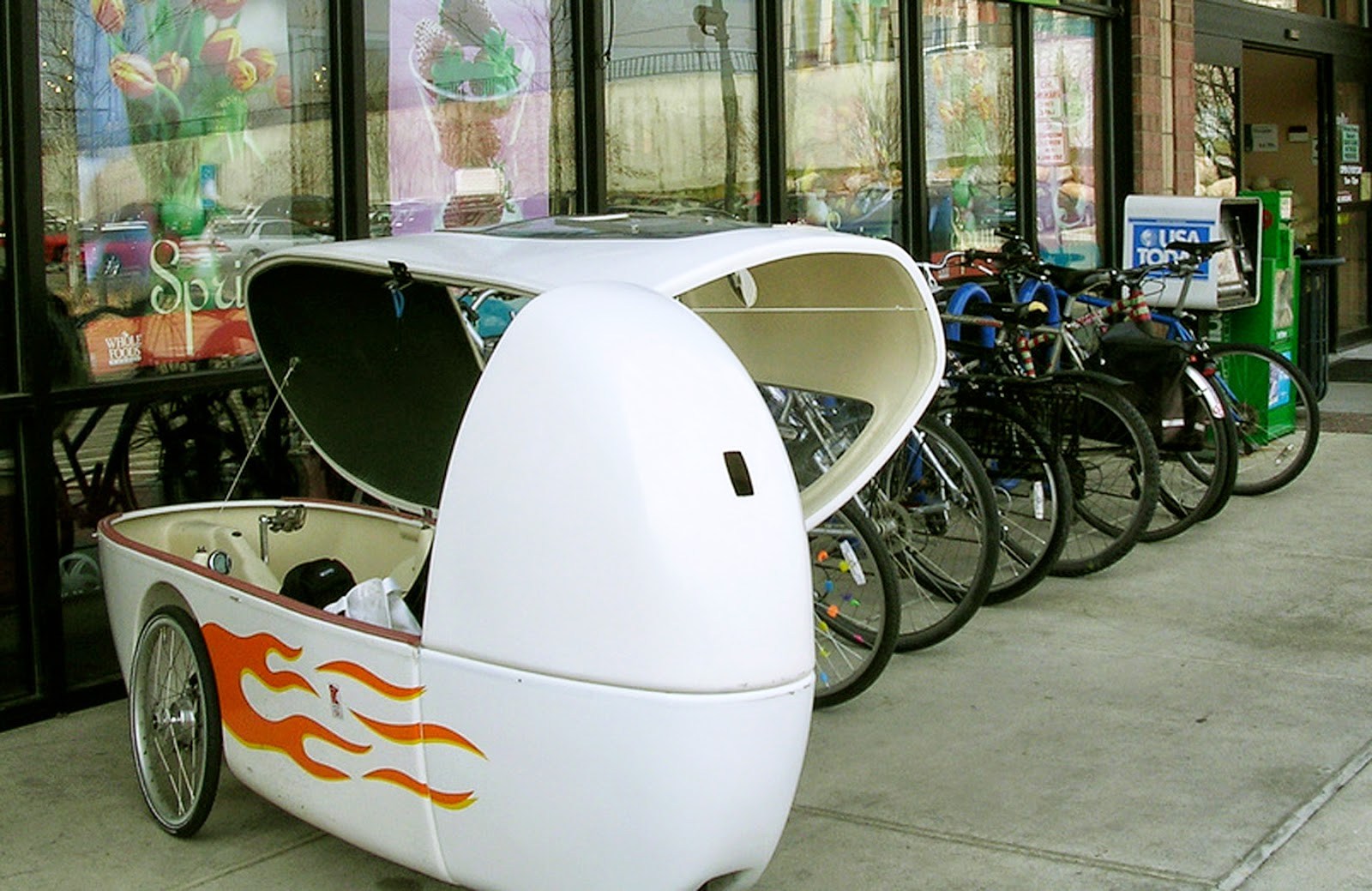 a velomobile in the city