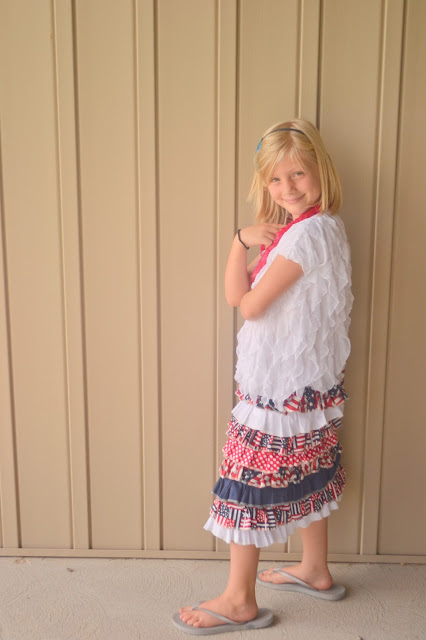 How to sew a ruffle skirt-4th of July Style