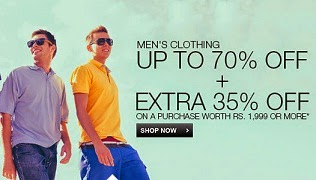 Flipkart New Offer : Upto 70% Off + Get Extra 35% Off on Men's Clothing