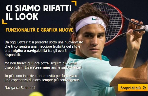 Nuovo look Betfair