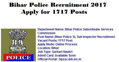 Bihar Police Recruitment 2017 | Apply 1717 SI, Constable Bihar Police Vacancy 2017