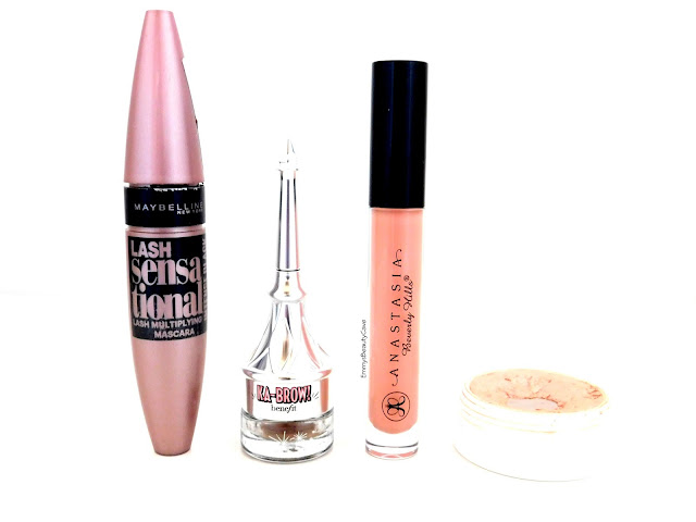 Maybelline Lash Sensational, Benefit Ka Brow, ABH Lipgloss Undressed