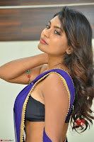 Actress Priya in Blue Saree and Sleevelss Choli at Javed Habib Salon launch ~  Exclusive Galleries 051.jpg