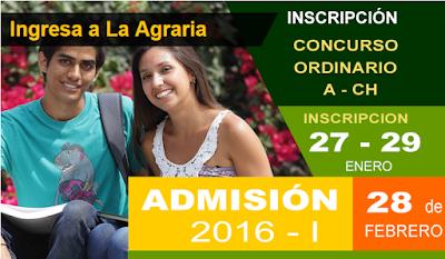 Inscripciones examen de admisión Universidad Nacional Agraria la Molina 2016-I