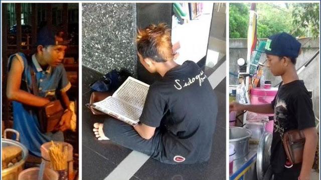 Bocah Penjual Cilok Ini Sempatkan Baca Al-Quran Bahkan Mampu Menghafal 25 Juz Dengan Dandanan Seperti Preman
