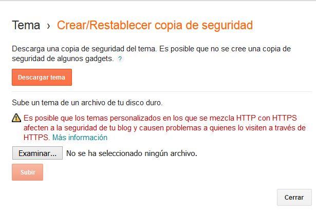 Aviso Blogger copia de seguridad plantilla