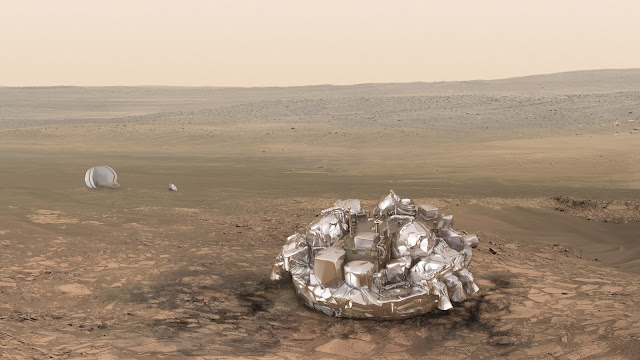 Artist impression of the Schiaparelli module on the surface of Mars. Image Credit: ESA/ATG medialab
