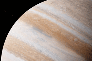 Vista parcial de Júpiter, el planeta más grande del sistema solar