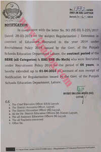 Extension in Contract Basis Jobs of Educators