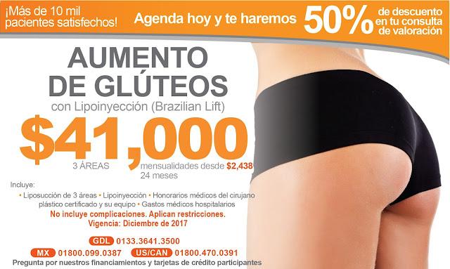 Precio Paquete Lipoinyeccion Aumento Gluteos Guadalajara Mexico