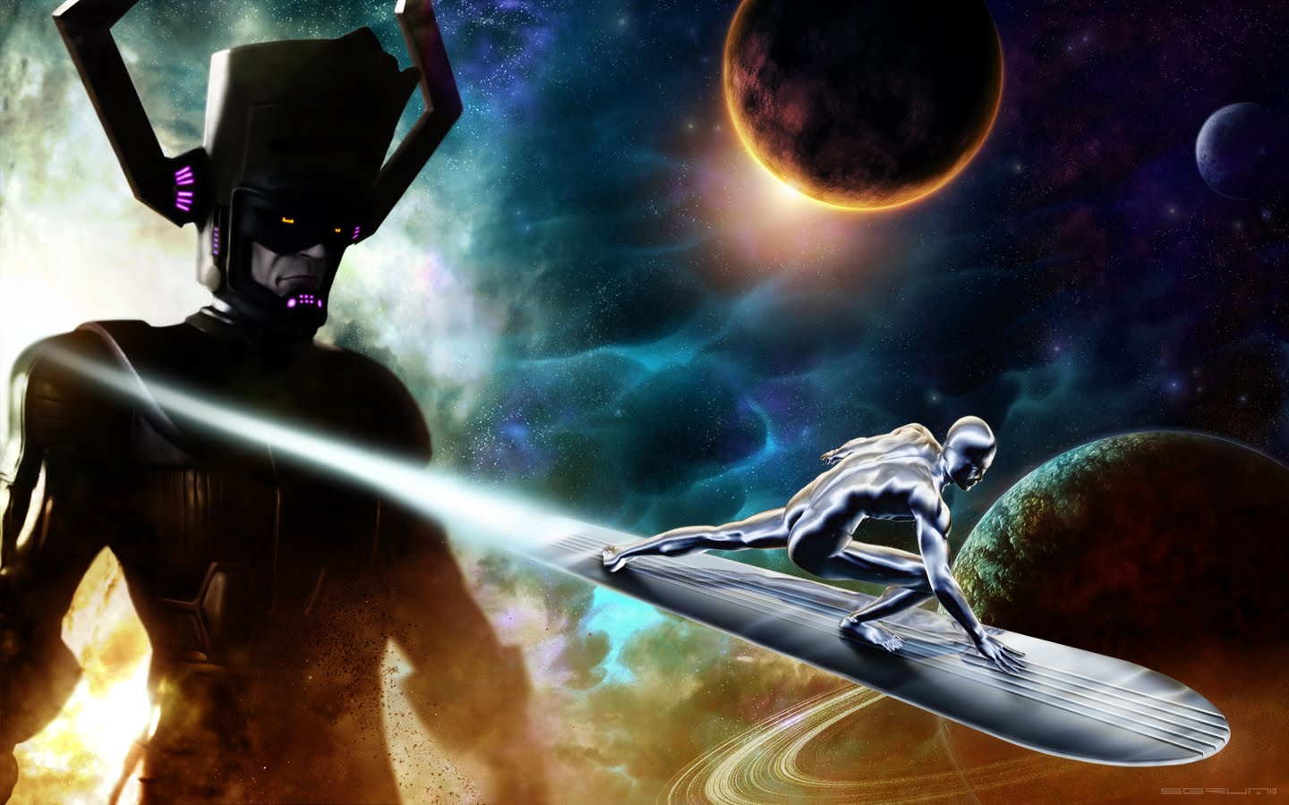 Image result for silver surfer and galactus