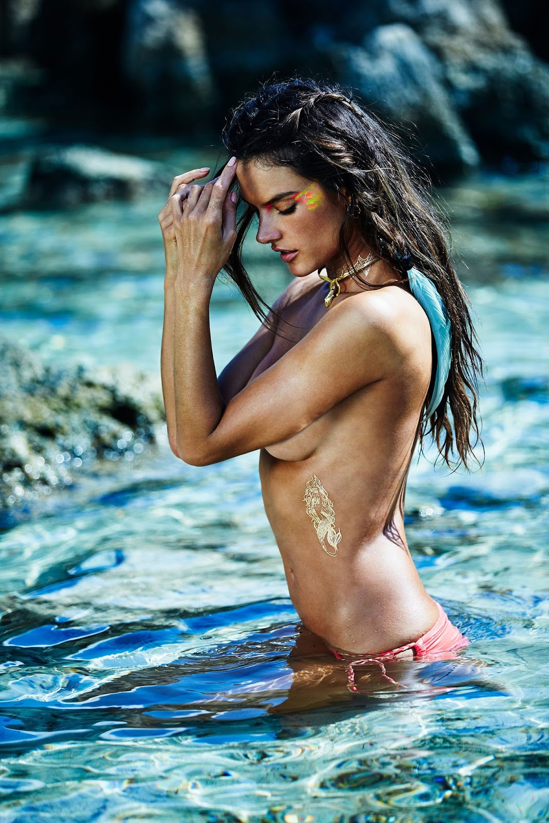 Alessandra Ambrosio Body Art Photoshoots