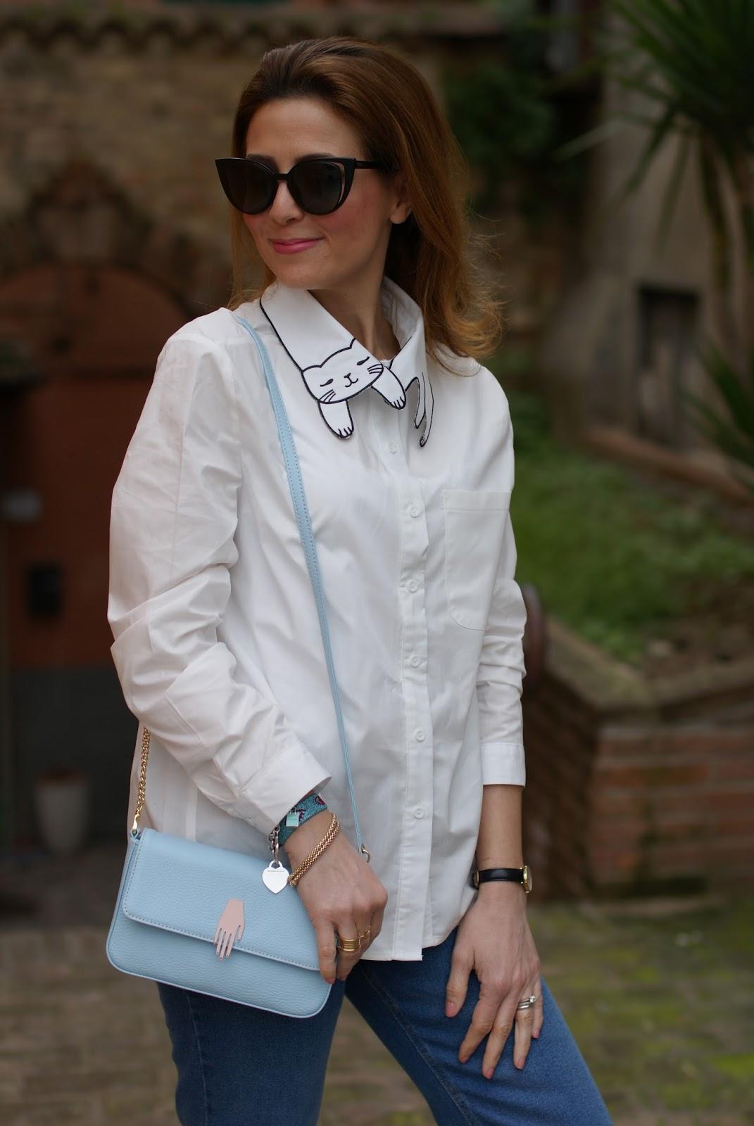 White cat collar shirt, Lazzari store borsa on Fashion and Cookies fashion blog, fashion blogger style