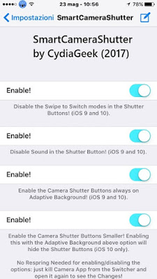 SmartCameraShutter has been released in Cydia that lets you customize and make your iPhone/iPad Camera app with more functional features on iOS 10 and 9.