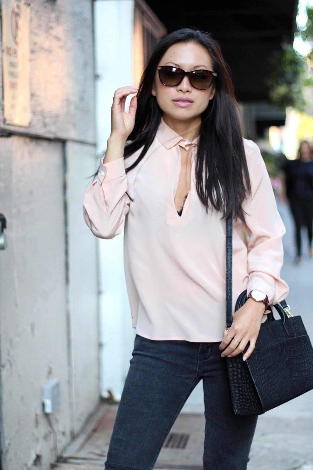 Myne blush blouse spring style J Brand jeans