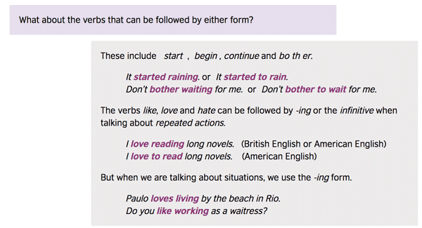 Using the gerund or the infinitive after a verb