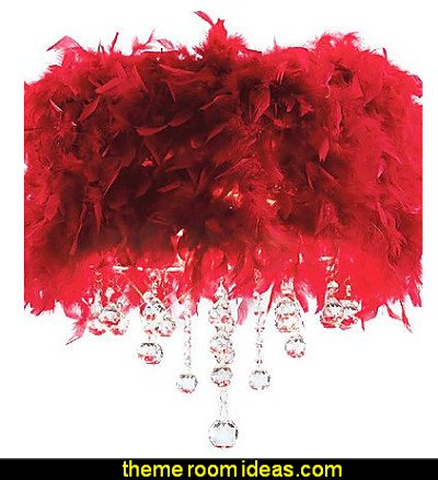 Crystal Pendant Light with 3 Lights in Red Feather Shade