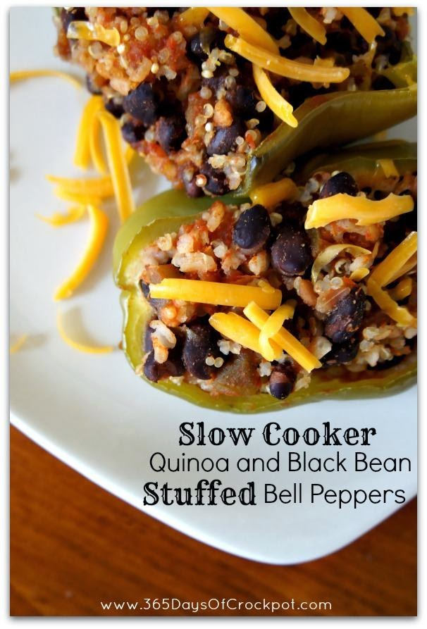 Slow Cooker Vegetarian Quinoa and Black Bean Stuffed Peppers from 365 Days of Slow Cooking featured on SlowCookerFromScratch.com
