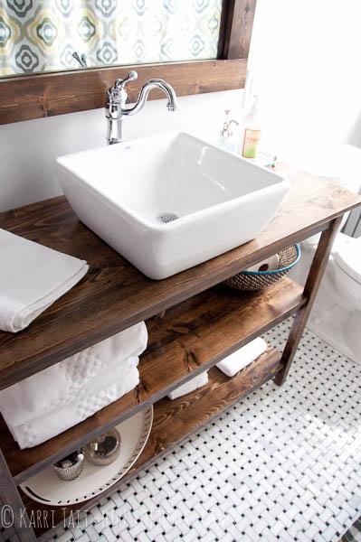 Wood open vanity bathroom