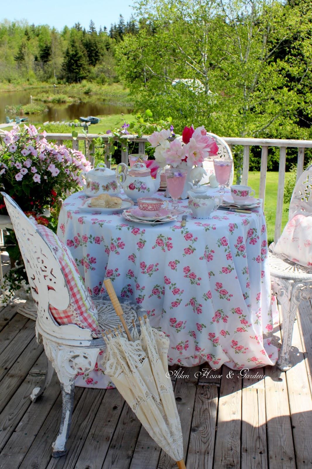 Aiken house gardens romantic pink balcony tea for Aiken house