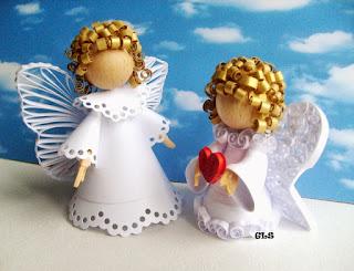 angelo di natale fai da te con carta in quilling 3D