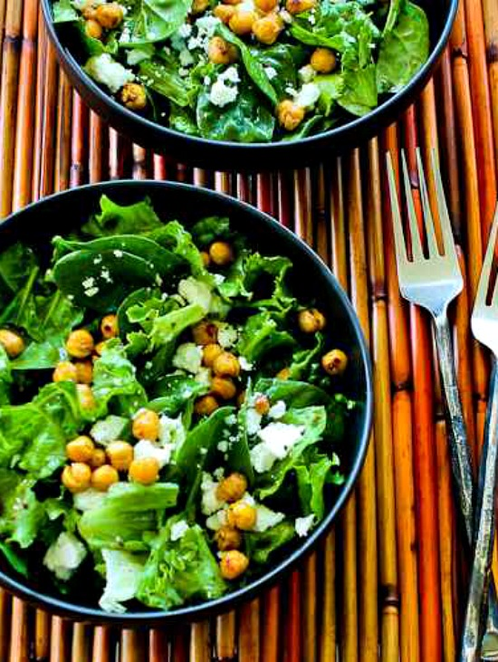 Leafy Greens Salad with Chickpeas, Feta, and Sumac Dressing found on KalynsKitchen.com