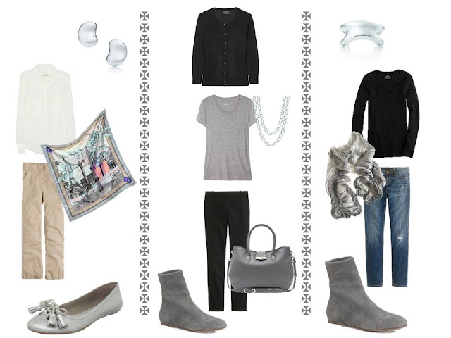 Three outfits from A Common Wardrobe, with silver accessories