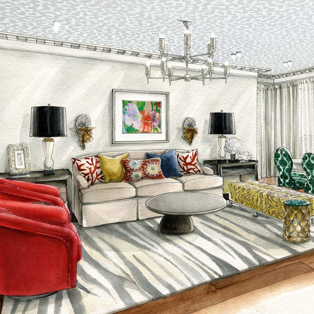 13-Living-Room-and-Chandelier-Julia-Smolkina-Interior-Design-with-Mixed-Media-Drawings-www-designstack-co
