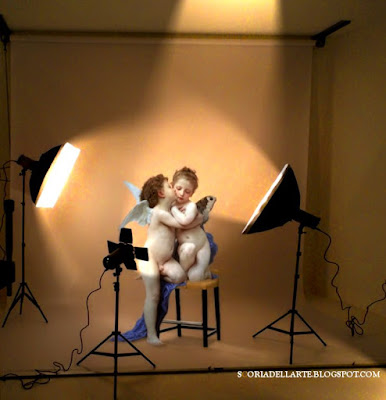 Dipinti classici reinterpretati in chiave moderna-Amore e Psiche bambini-Bouguereau