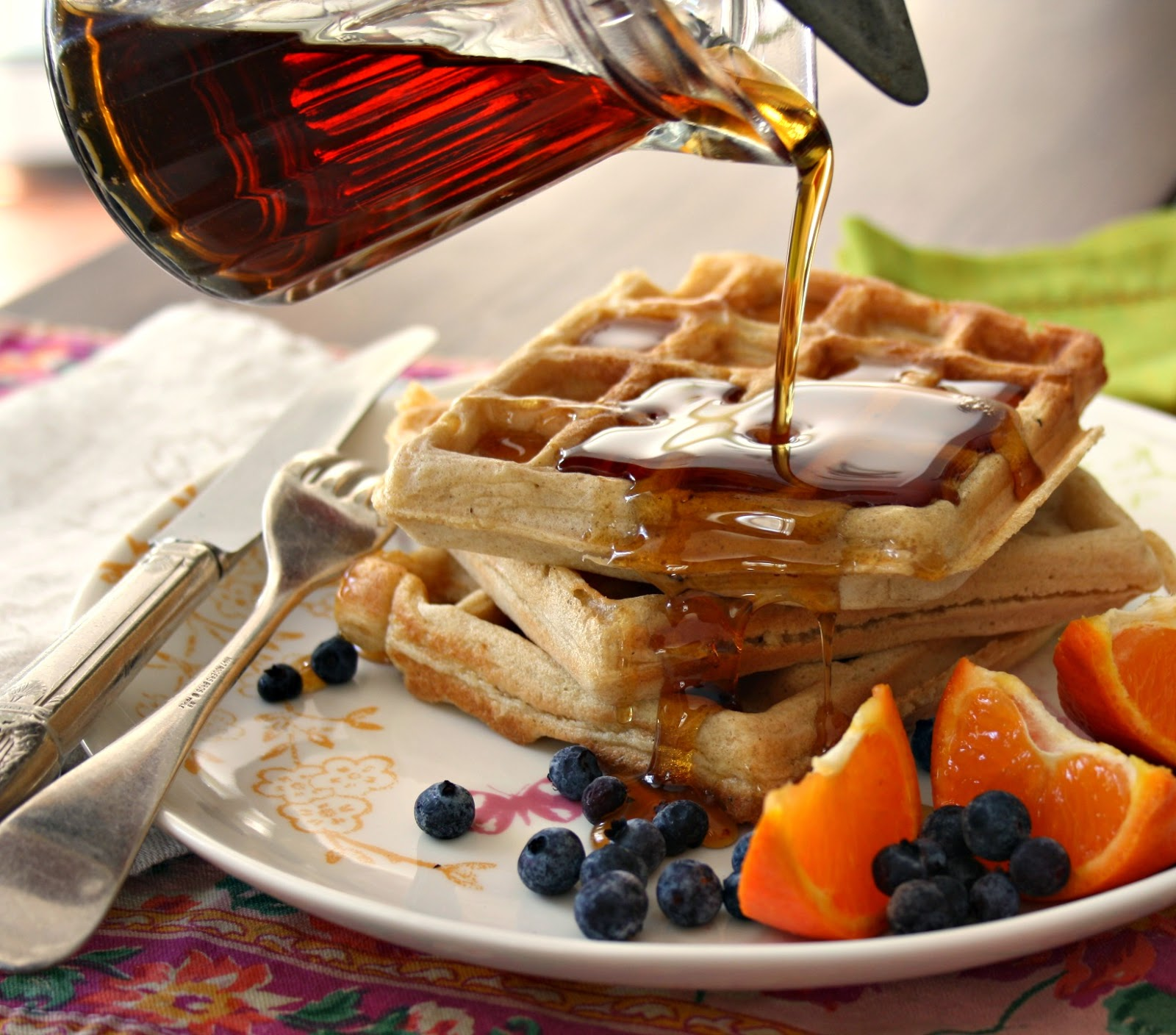 Easy wholegrain flax waffles