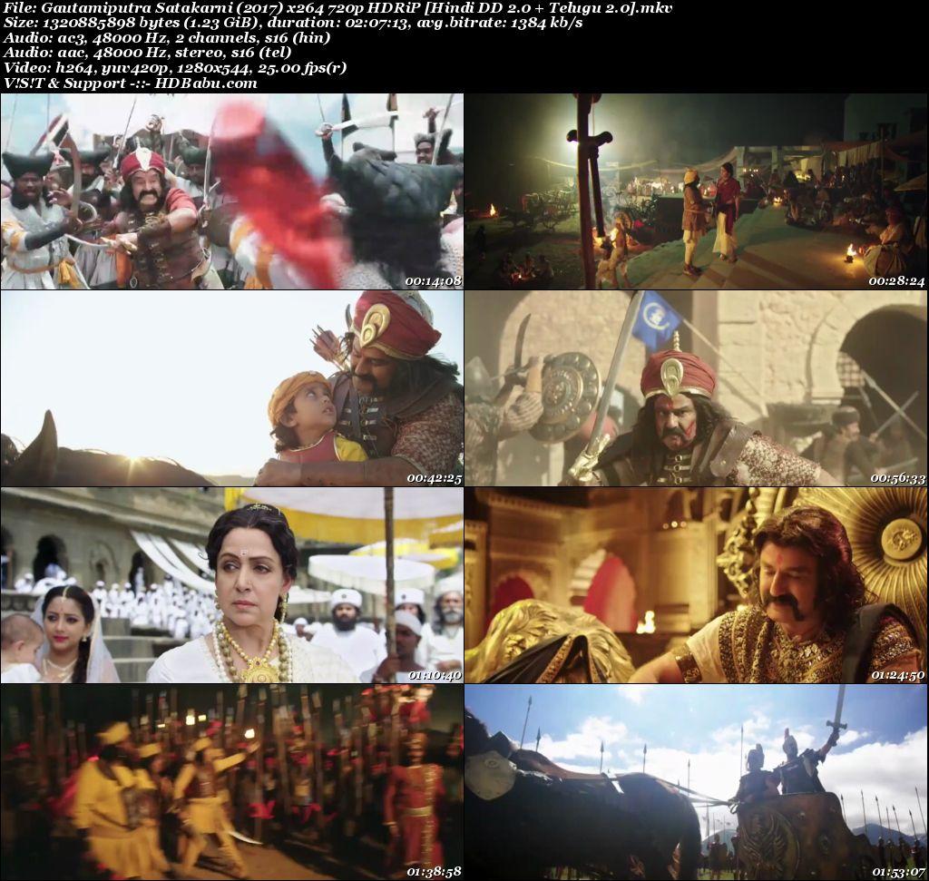 Gautamiputra Satakarni (2017) x264 720p HDRiP [Hindi DD 2.0 + Telugu 2.0] - 1.2GB Screenshot
