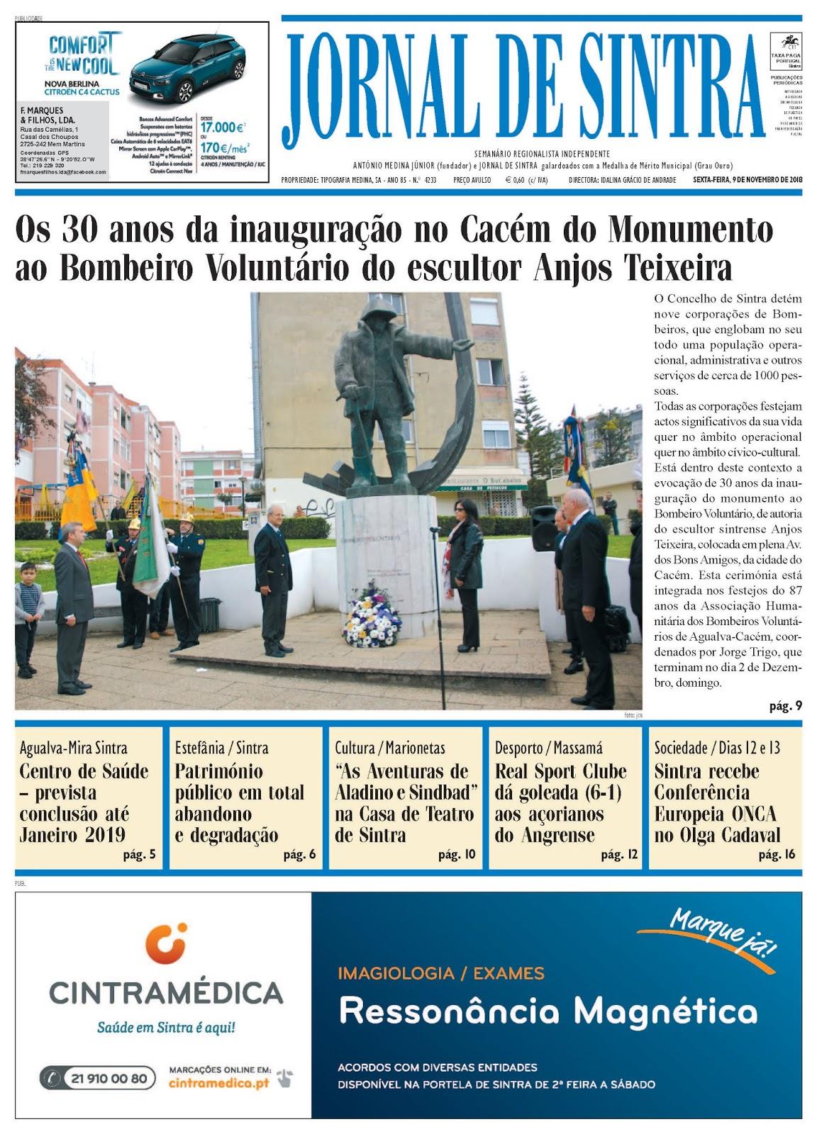 Capa da edição de 09-11-2018