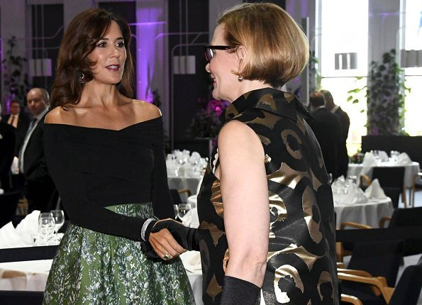 Crown Princess Mary wore H&M Skirt from H&M Conscious Exclusive Collection and Gianvito Rossi Mesh paneled suede pumps