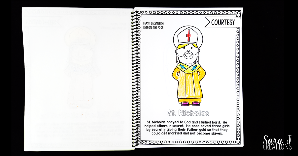Catholic Saints Coloring Book. Includes 56 different Saints. Great way to teach the virtues through the lives of the Saints.