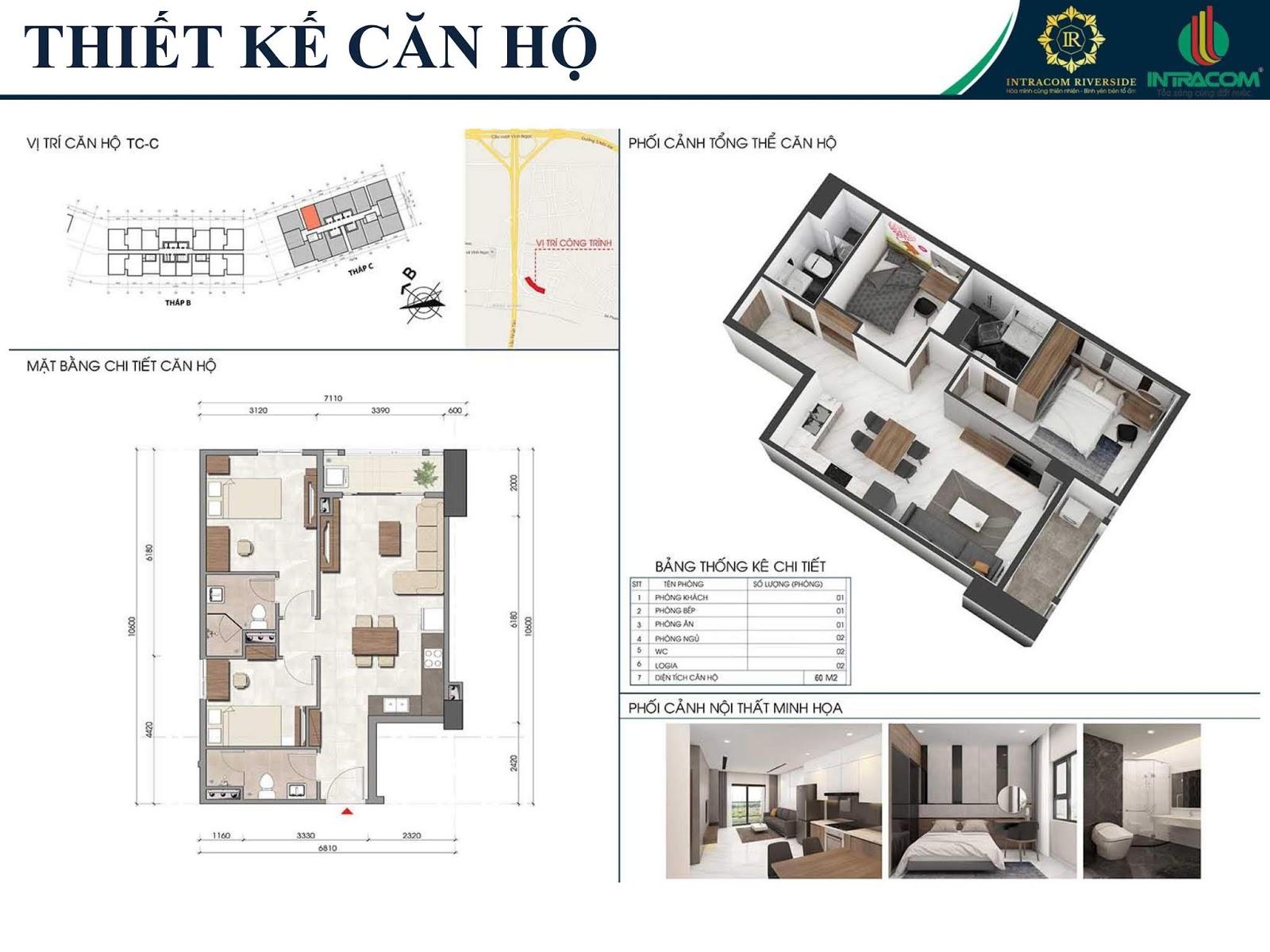 Căn hộ 60m2 tháp C chung cư Intracom Riverside