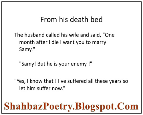 Husband Wife Death Bed Funny Jokes English Poetry For Lovers