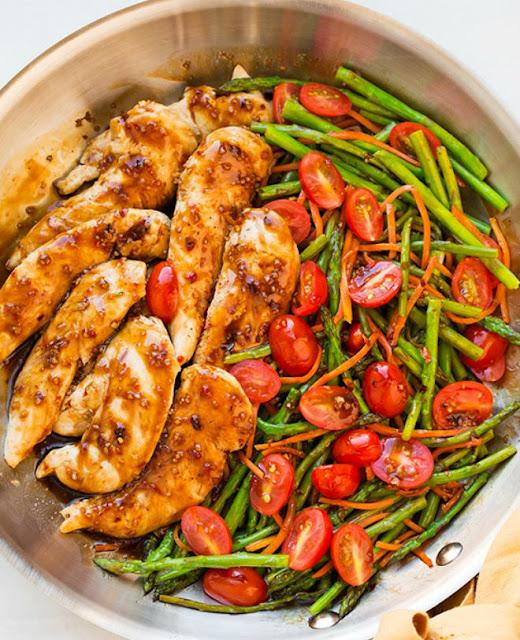 Poulet aux légumes et vinaigre balsamique