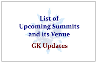 List of Upcoming Summits and its Venue