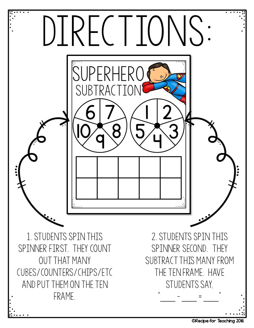 Superhero Day Subtraction - Recipe for Teaching