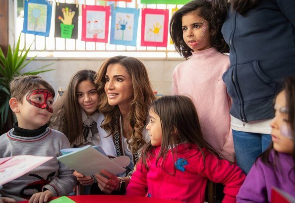 Queen Rania of Jordan visited Al Hussein Social Foundation for Orphans in Ashrafieh