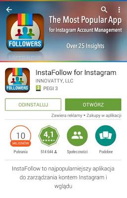 aplikacja do zarządzania kontem Instagrama