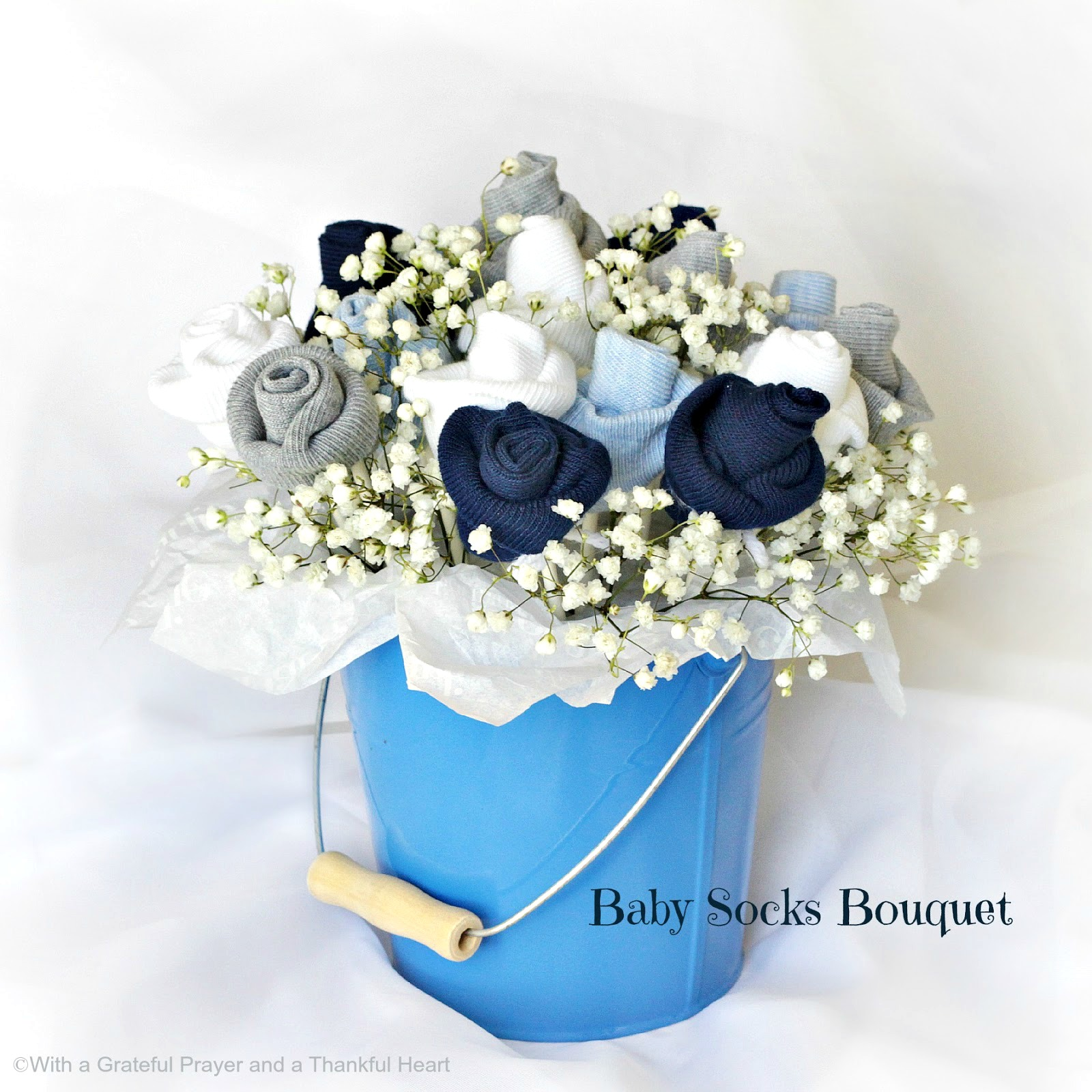 ... Baby Shower Flower Arrangements Baby Socks Rose Bud Flower Bouquet  Grateful Prayer Thankful Heart ...