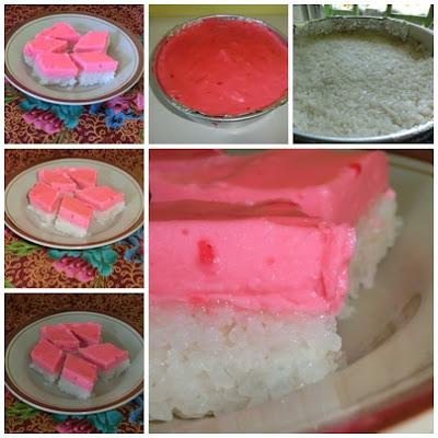Resipi kuih talam warna pink yang girlish