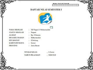 Sampul / Cover Daftar Nilai SD Kelas 1 Kurikulum 2013, https://gurujumi.blogspot.com/