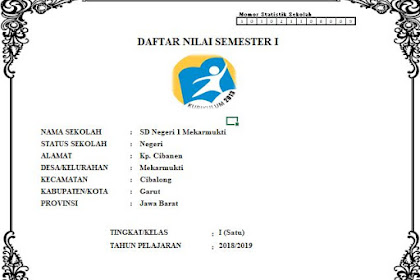 Daftar Nilai SD Kelas 1 Semester 1 Kurikulum 2013