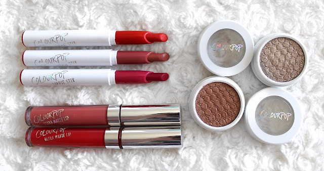 A picture of Colourpop Lippie Stixs & Super Shock Eyeshadows