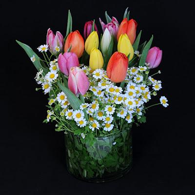 Matricaria Tulip Table Bouquet